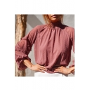 Fashion Womens Plain Swiss Dot High Neck Elastic Hem Ruffle Sleeve Blouse