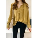 Fashion Womens Plain Oversize V Neck Long Sleeve Casual loose Blouse