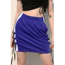Womens Hot Trendy Purple Elastic Waist Lace Up Striped Side Mini Skirt