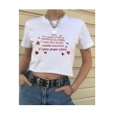 New Stylish White Letter Red Heart Printed Short Sleeve Cool Sweet Crop Tee