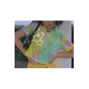 Trendy Womens Summer Tie Dye Bear Printed Short Sleeve Round Neck Blouse T- Shirts