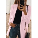 Womens New Stylish Simple Plain Lapel Collar Long Sleeve Fitted Longline Blazer Coat