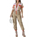Womens Stylish Short Sleeve Zip Front Lapel Pocket Embellished Elastic Cuff Self Tie Colorblock Jumpsuits