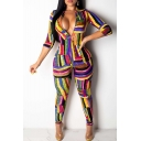 Womens Stylish Striped Printed Plunge V Neck 3/4 Sleeve Zip Front Skinny Jumpsuits for Club