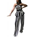 Womens Stylish Black Sleeveless Crisscross Back Striped Printed Sexy Jumpsuits