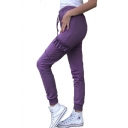 Womens Stylish Chic Drawstring Waist Elastic Cuff Fungus Trim Embellished Leisure Stretch Pants