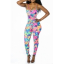 New Trendy Womens Straps Sleeveless Floral Printed Cutout Skinny Jumpsuits