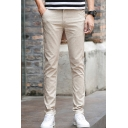 Mens Thin Cotton Simple Plain Casual Slim Dress Pants