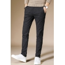 Fashion Basic Simple Plain Cotton and Linen Casual Slim Dress Pants for Men