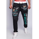 Men's Fashion Letter Printed Drawstring Waist Casual Cotton Sweatpants