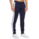 Men's Popular Fashion Colorblock Patched Side Elastic Waist Casual Slim Sweatpants