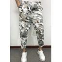 Men's Popular Fashion Camouflage Printed Drawstring Waist White Slim Casual Cotton Pencil Pants
