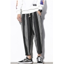 Guys New Fashion Retro Stripe Pattern Drawstring Waist Casual Loose Tapered Pants