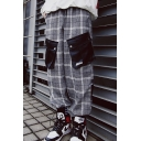 Men's Designer Fashion Plaid Pattern Double Flap Pocket Vintage Street Trendy Grey Cargo Pants