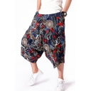 Mens National Style Unique Floral Printed Baggy Low Crotch Cropped Harem Pants