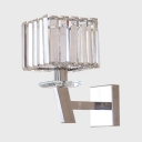 1/2 Head Cube Wall Light Simple Style Stainless Steel Crystal Wall Lamp in Chrome for Bedroom