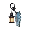 Hallway Cafe Kerosene Hanging Wall Light Metal Wood 1 Light Vintage Wall Sconce in Blue
