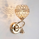 Elegant Globe Wall Light 1 Head Metal Sconce Lamp in Gold with Clear Crystal for Hotel Restaurant