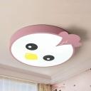 Metal Bird LED Ceiling Mount Light Cartoon Warm/White Lighting Flush Light in Green/Pink for Hallway