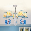 Blue Robot Cat Chandelier 3/5/6 Lights Lovely Metal Pendant Light with Horse for Boys Bedroom