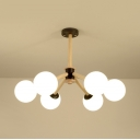 Dining Room Cafe Orb Chandelier Frosted Glass 6 Lights Modern Style Beige Hanging Light
