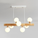 7 Lights Globe Shade Island Light Nordic Modern Opal Glass Island Lamp in Beige for Book Shop