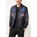 Unique Bird Printed Stand Collar Long Sleeve Zip Up Slim Fit Black Jacket for Men