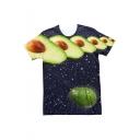 Summer Creative Funny Galaxy Avocado 3D Printed Navy T-Shirt