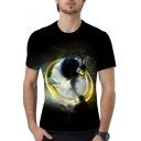 Summer Cool Unique 3D Pattern Round Neck Short Sleeve Black Unisex T-Shirt