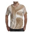 Summer Trendy Pattern Round Neck Short Sleeve Mens Khaki T-Shirt