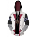 New Stylish Yu-Gi-Oh Comic Cosplay Costume Long Sleeve Zip Up White Hoodie