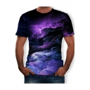 Mens Cool 3D Pattern Basic Round Neck Short Sleeve Regular Fitted T-Shirt