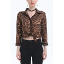 Womens New Fashion Leopard Printed Long Sleeve Casual Chiffon Shirt