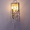 Antique Style Gold Sconce Light Candle 1 Head Metal Wall Light with Crystal Bead for Corridor