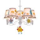 Kindergarten Chick Pendant Light with Tapered Shade Metal 5/6 Lights Lovely White Chandelier