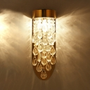 Luxurious Gold Wall Sconce Striking Teardrop Crystal Stainless Steel Wall Light for Stair Hallway