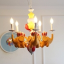 Child Bedroom Elephant Chaneleir with Candle & Star Resin 5 Lights Cartoon Pendant Light