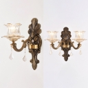 Vintage Style Antique Brass Wall Light Bud Shade 1/2 Lights Metal Sconce Light with Striking Crystal for Hotel