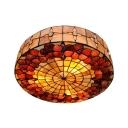 20 Inch Desert Rose Ceiling Mount Light Classic Tiffany Shell Flush Light in Beige for Villa