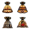 Classic Tiffany Brass Flush Ceiling Light Bell Shade Single Head Art Glass Ceiling Lamp for Hallway