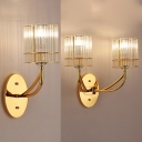 Contemporary Rectangle Wall Light Clear Crystal 1/2 Light Gold Sconce Light for Corridor