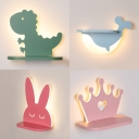 Crown/Dinosaur/Dolphin/Rabbit Wall Light Cartoon Iron Candy Colored LED Sconce Light for Child Bedroom