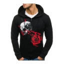 Trendy Rose Skull Printed Long Sleeve Zip Up Fitted Drawstring Hoodie for Men