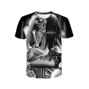 Cool Skull Skeleton Figure Printed Short Sleeve Black T-Shirt