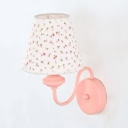 Kids Floral Wall Light with Fabric Shade Metal 1 Light Pink Wall Sconce for Girls Bedroom
