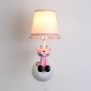 Fabric Tapered Shade Sconce Light with Toy Tiger Nursing Room 1 Light Cartoon Wall Lamp in Pink