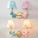 Cute Unicorn Shaped Wall Lamp 2 Heads Fabric Resin Sconce Light in Blue&Pink for Kindergarten