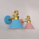 Candy Colored Cone Wall Lamp Single Light Macaron Loft Metal Sconce Light for Corridor Bedroom