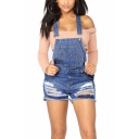 Hot Popular Womens Distressed Ripped Blue Denim Overall Shorts