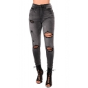 New Stylish Womens Fashion Grey Distressed Ripped Knee Cut Skinny Fit Jeans